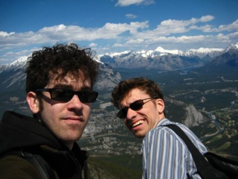 Tyson and Andrew on Sulphur Mountain, Alberta, Canada